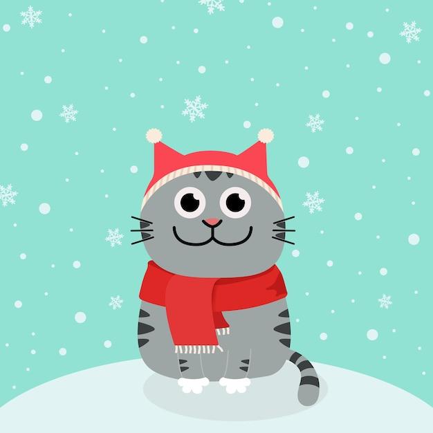 Gatto della neve e dei cartoni animati in cappelli della santa Vettore Premium