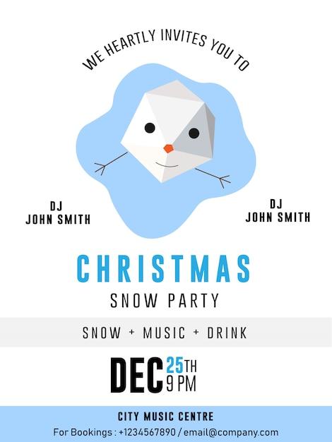 Snow man christmas party banner flyer carta premium flyer Vettore Premium