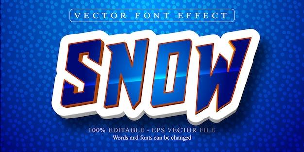 Testo di neve, effetto di testo modificabile in stile cartone animato Vettore Premium