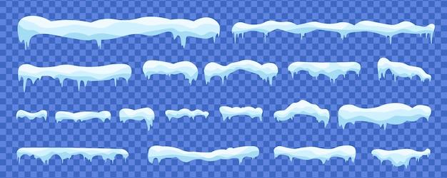 Palle di neve e cumuli di neve decorazione invernale elementi nevosi. Vettore Premium