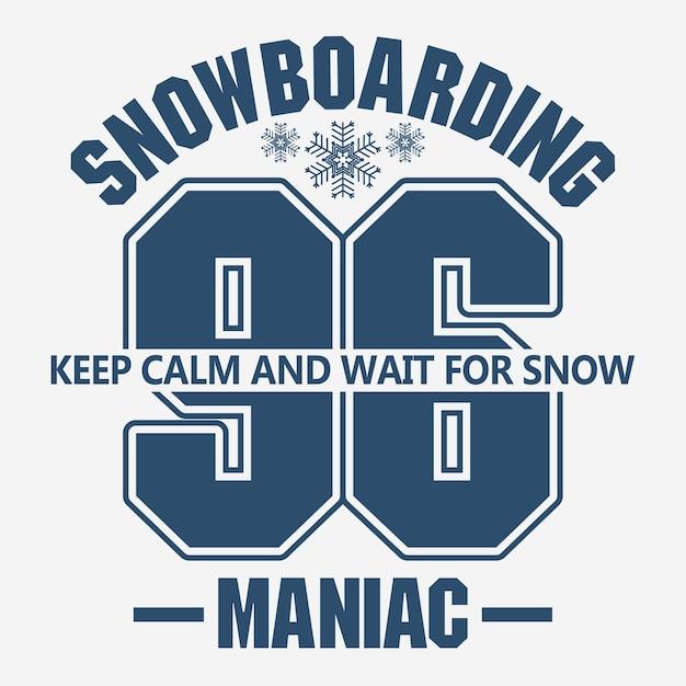 Grafica di moda t-shirt snowboard, emblema degli sport invernali, Vettore Premium