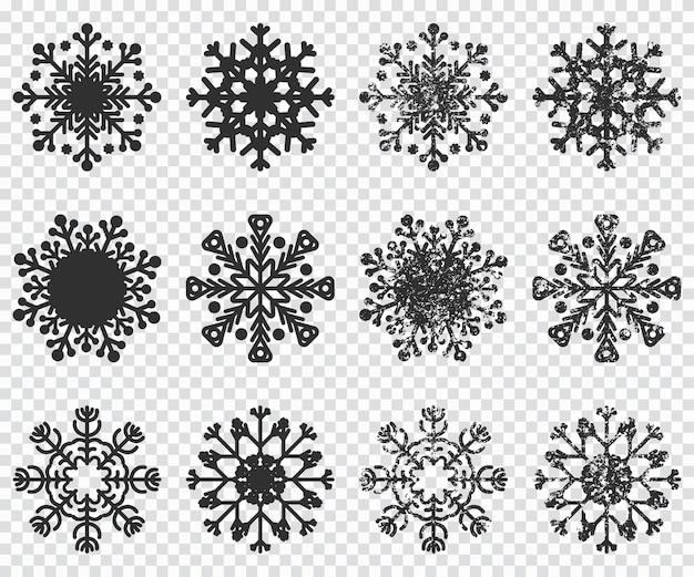 Icone di sagoma nera di fiocchi di neve impostata su sfondo trasparente. Vettore Premium