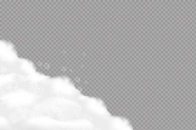 Schiuma di sapone sovrastante sullo sfondo di un colore dell'acqua blu. cornice trasparente. Vettore Premium