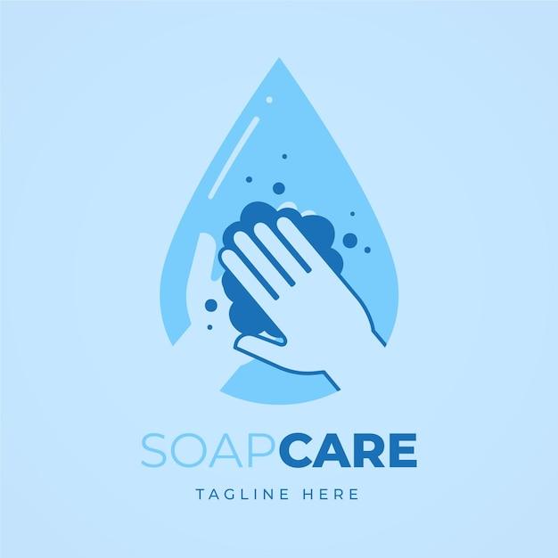 Logo di sapone con persona che si lava le mani Vettore Premium