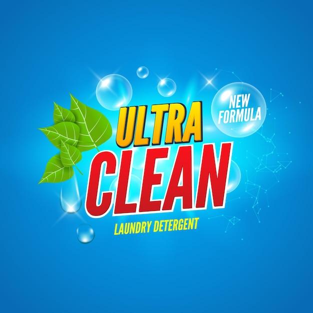 Design della confezione di sapone. lavare sfondo di sapone. banner di design pacchetto detersivo per bucato. polvere per lavare i vestiti. potente prodotto fresco alla menta. Vettore Premium