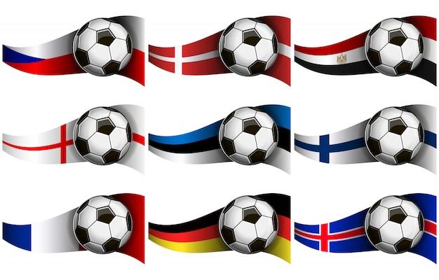 Pallone da calcio e bandiere Vettore Premium