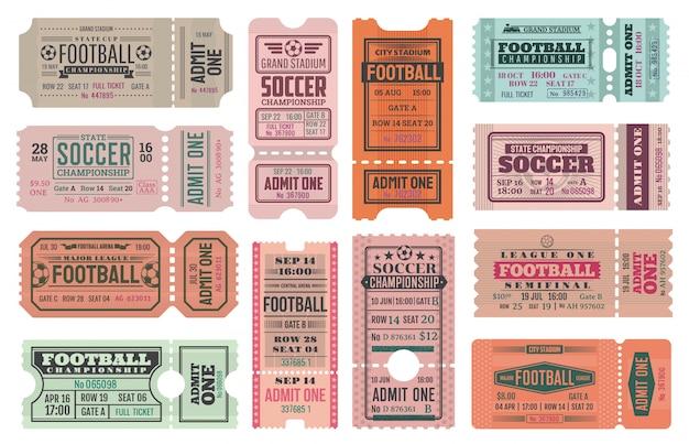Calcio o calcio ammettono un modello di biglietto Vettore Premium