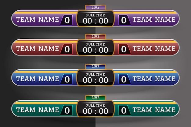 Tabellone segnapunti di calcio modello grafico di schermo digitale Vettore Premium