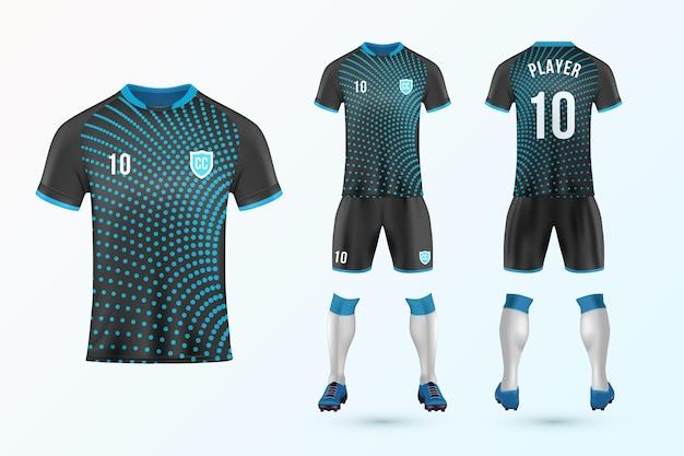 Set modello uniforme di calcio Vettore Premium