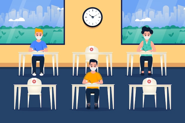 Distanza sociale al concetto di scuola Vettore Premium