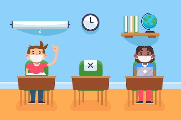 Distanza sociale al concetto di scuola | Vettore Premium