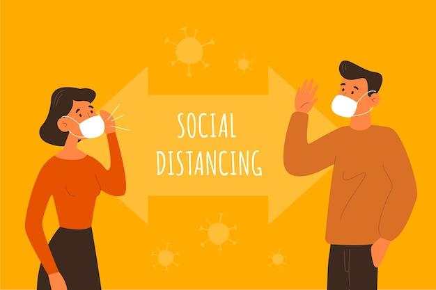 Illustrato il concetto di allontanamento sociale Vettore Premium