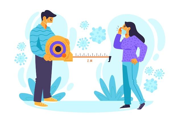 Illustrazione di concetto di allontanamento sociale Vettore Premium