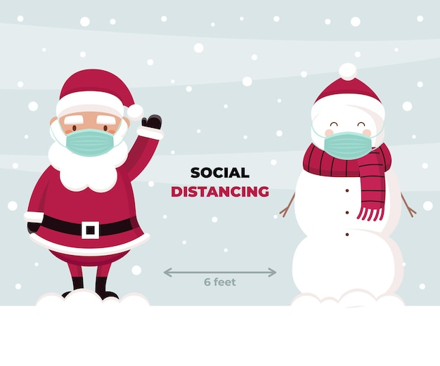 Concetto di allontanamento sociale con personaggi natalizi Vettore Premium