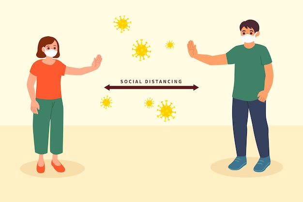 Concetto di allontanamento sociale Vettore Premium