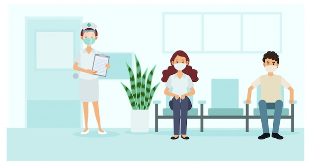 Allontanamento sociale e prevenzione del covid-19 del coronavirus: mantenere una distanza di sicurezza dagli altri in ospedale. infermiera e pazienti in ospedale. illustrazione. Vettore Premium