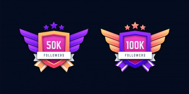 Distintivi di follower sui social media 50k e 100k Vettore Premium