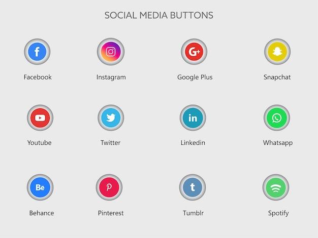 Illustrazione dei pulsanti di app di social media Vettore Premium