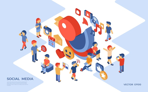 Social media e illustrazione isometrica di affari Vettore Premium
