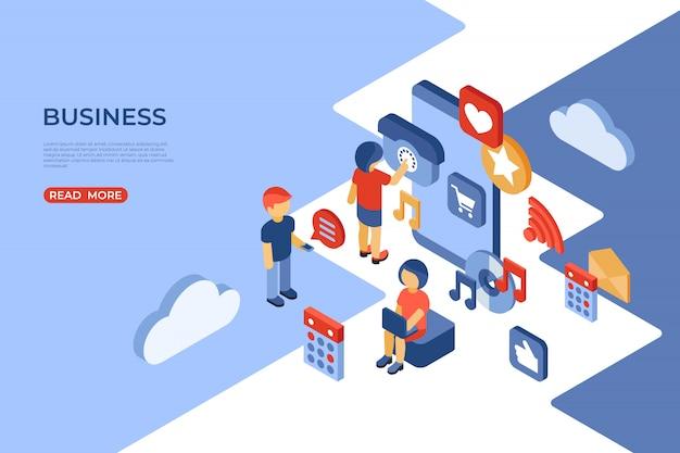 Social media e landing page isometrica aziendale Vettore Premium