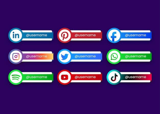 Pulsanti di raccolta dei social media Vettore Premium