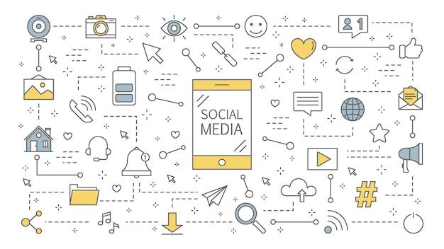 Ilustration di concetto di media sociali. comunicazione globale, condivisione di contenuti e feedback. utilizzo di reti per la promozione aziendale. strategia di marketing. illustrazione al tratto Vettore Premium
