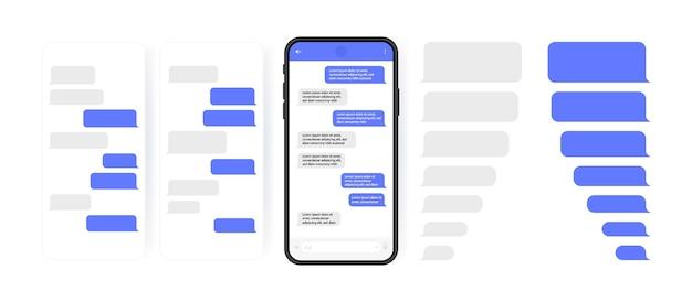 Concetto di social media. smart phone con schermata di chat di messenger a carosello. bolle di modello sms per comporre dialoghi. stile di illustrazione moderno. Vettore Premium