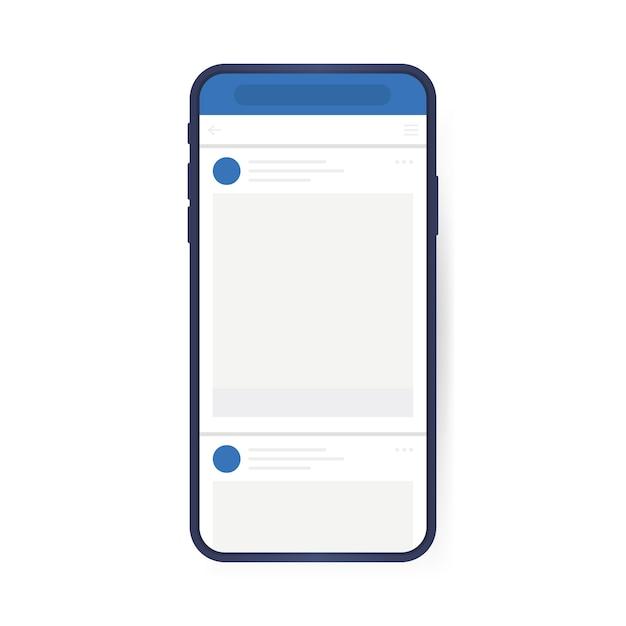 Concetto di design dei social media. smartphone con interfaccia carosello posta sui social network. stile piatto moderno Vettore Premium