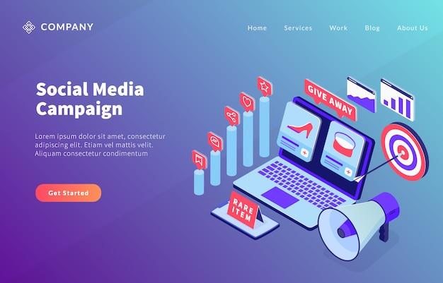 Concetto di campagna e-commerce di social media Vettore Premium