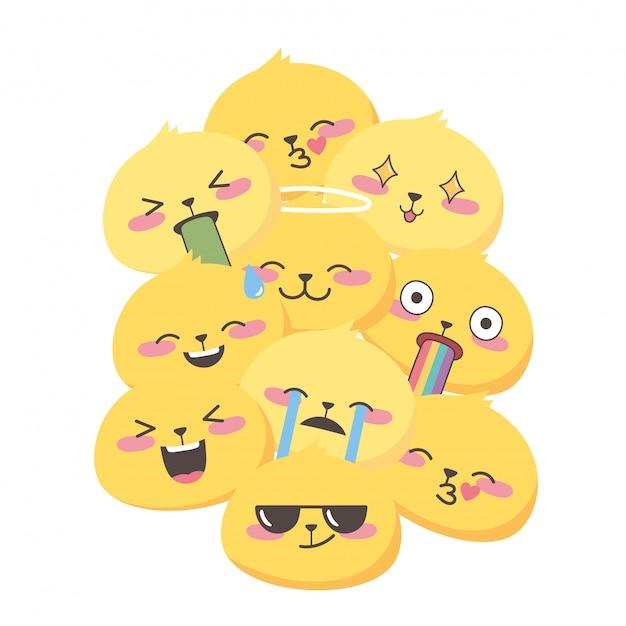 Le espressioni emoji dei social media affronta il fondo divertente del fumetto Vettore Premium