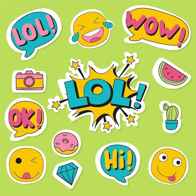 Emoji e adesivi per social media Vettore Premium