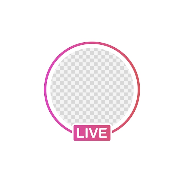 Telaio di avatar icona media sociali. storie live di video streaming degli utenti. Vettore Premium