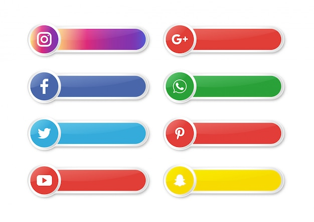 Banner icona social media isolato su sfondo bianco. Vettore Premium