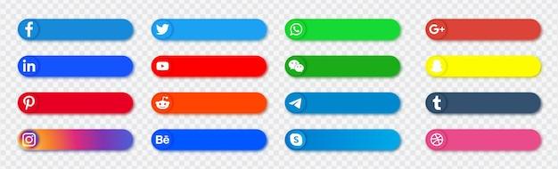 Banner icone social media - raccolta di pulsanti di loghi di rete Vettore Premium
