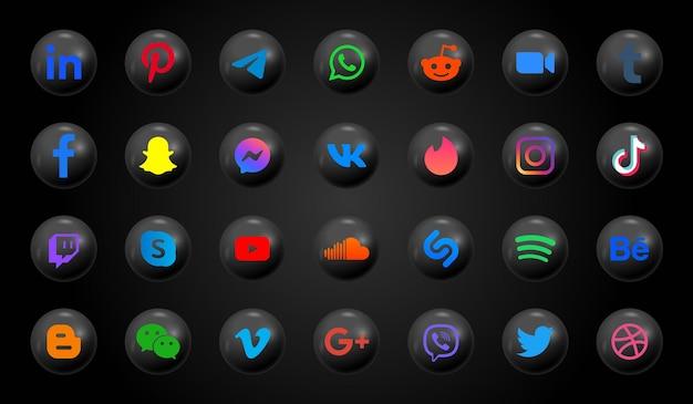 Icone dei social media nei moderni pulsanti neri e loghi rotondi Vettore Premium