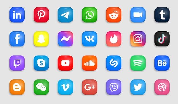 Icone dei social media in pulsanti moderni e quadrati con loghi ad angolo tondo Vettore Premium