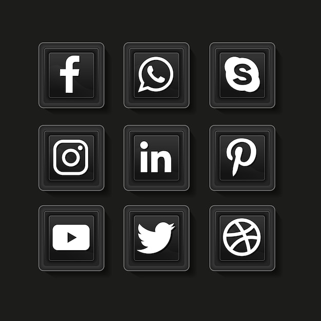 Icone dei social media. raccolta del logo dei social media. Vettore Premium