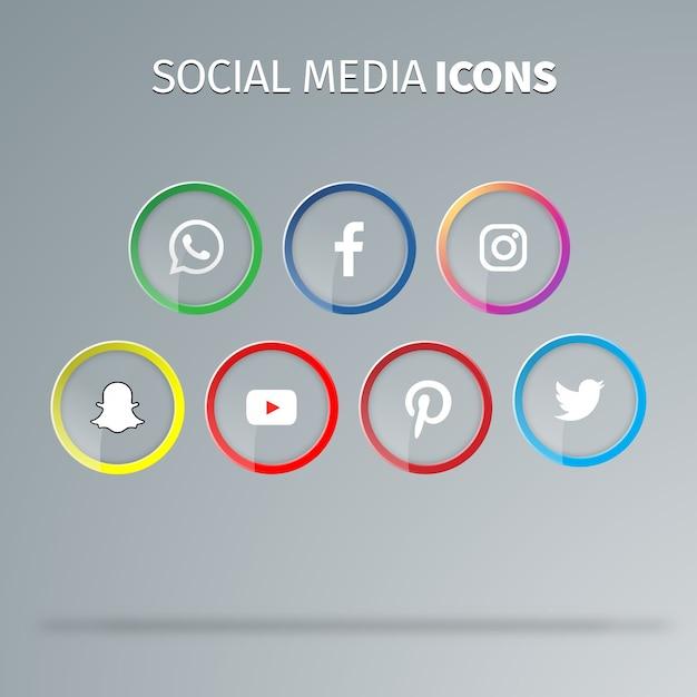 Vettori di icone social media Vettore Premium