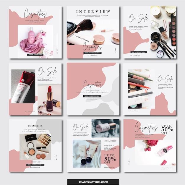 Banner instagram social media (cosmetici) Vettore Premium