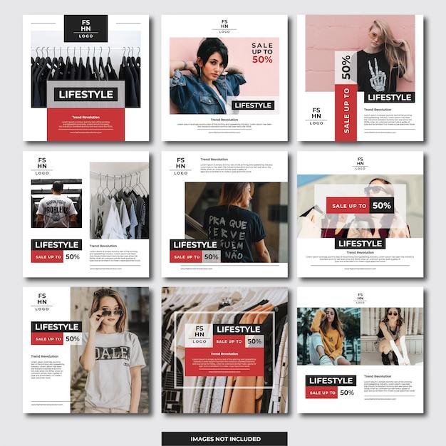 Banner instagram social media (moda) Vettore Premium