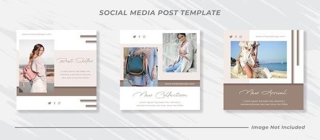 Social media instagram feed post e storie set di modelli di banner di vendita di moda Vettore Premium