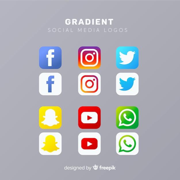 Collezione logo social media Vettore Premium