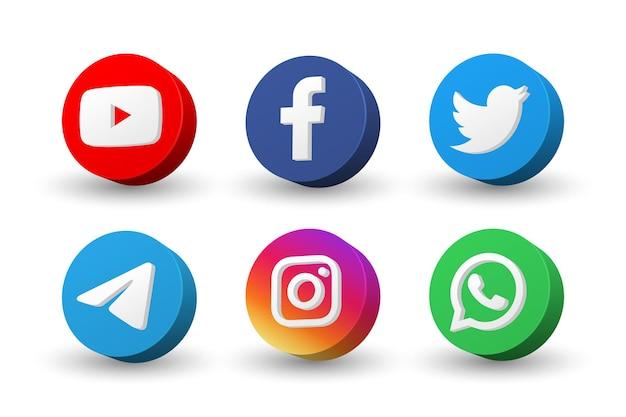 Collezione di icone di social media logo isolato su bianco Vettore Premium
