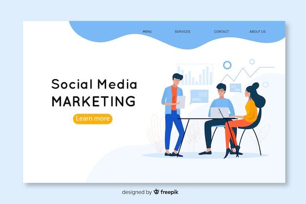 Modello di landing page di social media marketing Vettore Premium