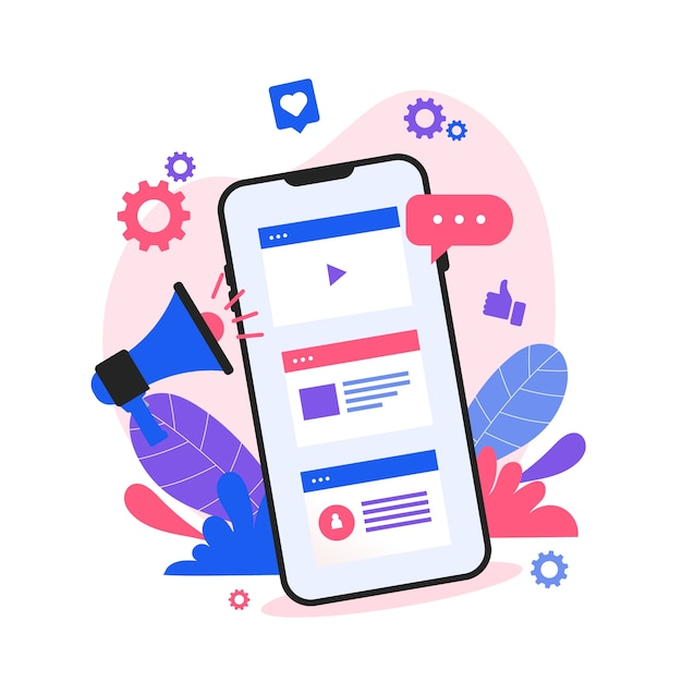 Concetto mobile di social media marketing Vettore Premium