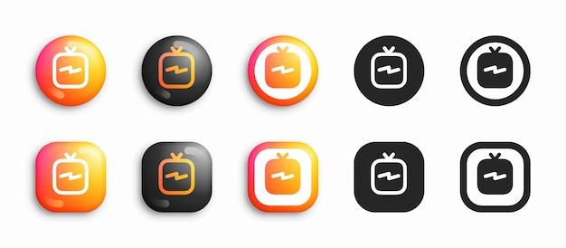Media sociali moderni 3d e icone piane messe Vettore Premium