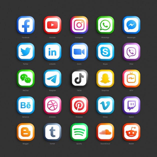 Set di icone web 3d di rete sociale di media Vettore Premium