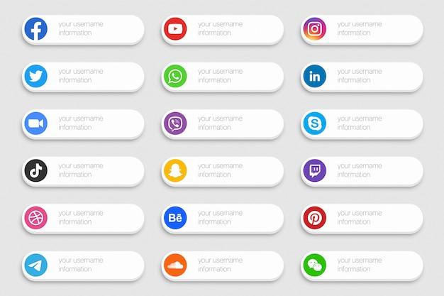 Set di icone di social media network banner inferiore terzo Vettore Premium