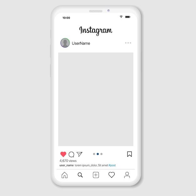 Rete di social media ispirata a instagram. app mobile con foto e modello di tessera storia. profilo utente, notizie, notifiche e post. Vettore Premium
