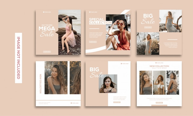 Social media post template collection instagram fashion beautiful Vettore Premium